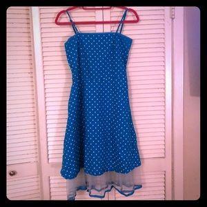 {Vintage}baby blue polka dot pinup fit/flare dress
